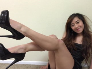 Asian In High Heels Fucking Dildo