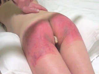 Asian girl spanked red and figged