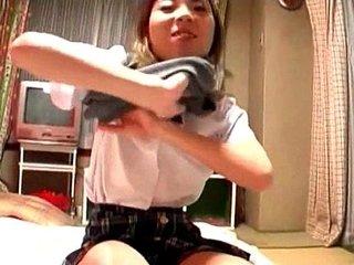 Jap teen minx in school shoves dick in her pussy and fucks it